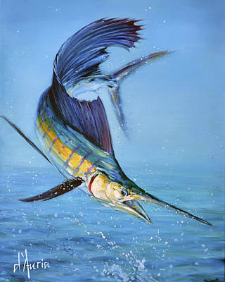 Sports Paintings - Sailfish in storm by Tom Dauria