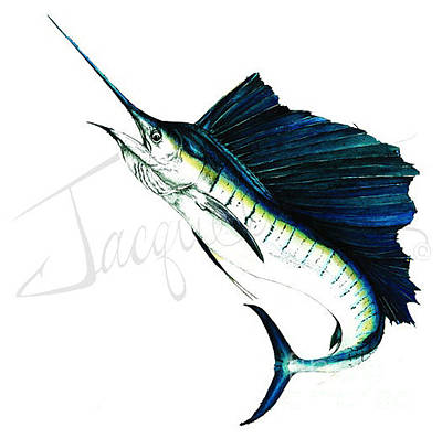 Mixed Media - Sailfish Jumping by Jacqueline Endlich