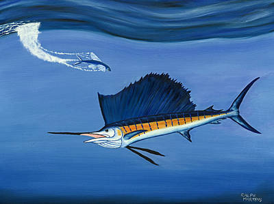 Fish Underwater Painting - Sailfish - Just Dropped In For Lunch by Ralph Martens