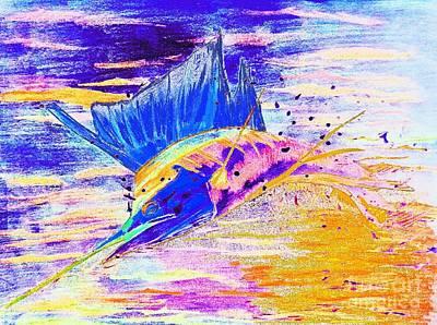 Sailfish Saltwater Fishing Abstract Art Print
