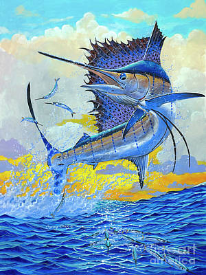 Sports Paintings - Sailfish Sunset OFF00160 by Carey Chen