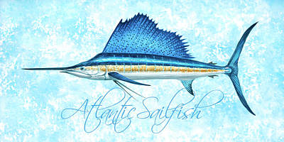 Wall Art - Painting - Sailfish Watercolor With Blue Sponge Background by Guy Crittenden