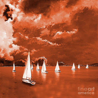 Sunrise Painting - Sailing 0921 by Gull G
