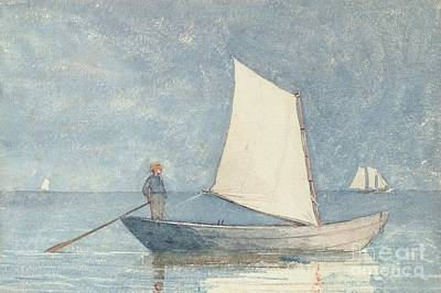 Marine- Painting - Sailing A Dory by Winslow Homer