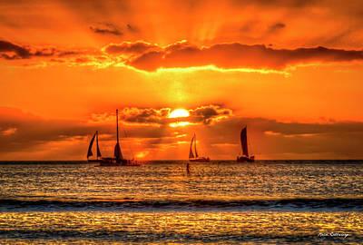 Photograph - Sailing A Waikiki Sunset Mamala Bay Honolulu Hawaii Collection Art by Reid Callaway
