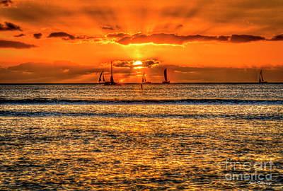 Photograph - Sailing A Waikiki Sunset Too Mamala Bay Honolulu Hawaii Collection Art by Reid Callaway