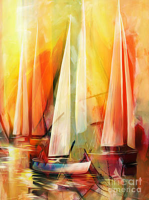 Water Vessels Painting - Sailing Abstract by Gull G