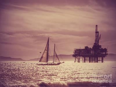 Sailboat Photograph - Sailing Across The Golden Sea by Leah McPhail