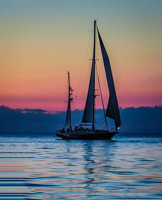Sailing After Sunset Art Print