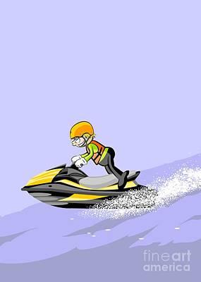 Sports Digital Art - Sailing And Enjoying The Sea In Jet Ski by Daniel Ghioldi