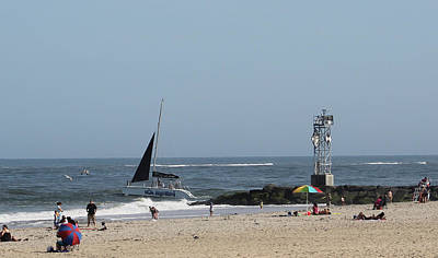 Photograph - Sailing Around The Inlet Jetty by Robert Banach