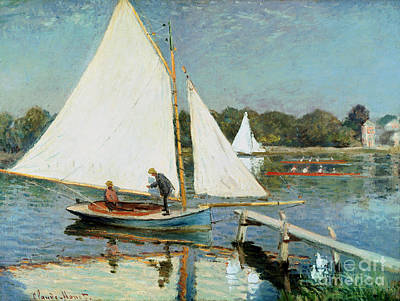 Sailing At Argenteuil Art Print by Claude Monet