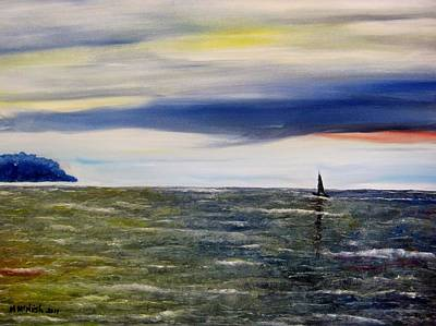 Sailing At Dusk Art Print by Marilyn  McNish
