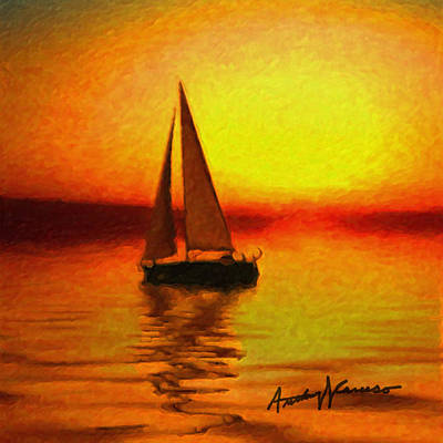 Sailing At Sunset Art Print by Anthony Caruso
