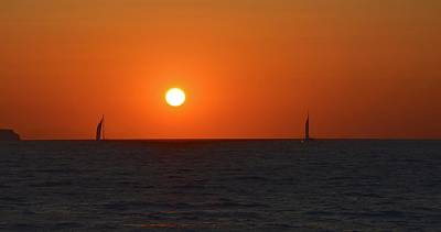 Photograph - Sailing At Sunset by Corinne Rhode