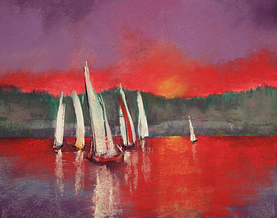 Pastel - Sailing At Sunset by David Patterson