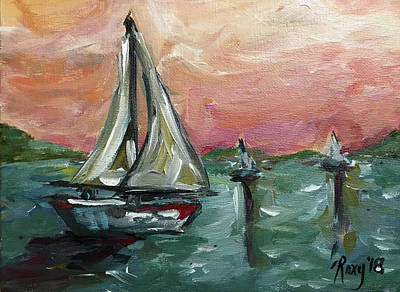 Transportation Painting - Sailing At Sunset by Roxy Rich