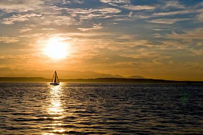 Sailing At Sunset Art Print by Tom Dowd