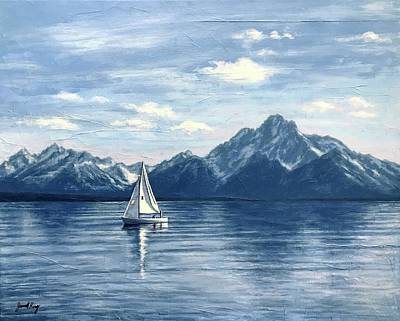 Painting - Sailing At The Grand Tetons by Janet King