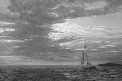 Transportation Painting - Sailing Away - Black And White by Lucie Bilodeau