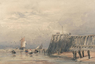 Painting - Sailing Barges And Shrimpers Off A Pier by David Cox