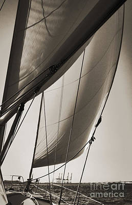 Sepia Photograph - Sailing Beneteau 49 Sloop by Dustin K Ryan