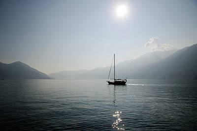 Ticino Photograph - Sailing Boat In Alpine Lake by Mats Silvan