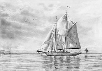 Drawing - Sailing Boat by Nolan Clark
