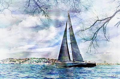 Sailing Boat Titan,seaside,cottage, Art Print by Jean Francois Gil