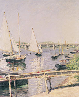 Watersports Wall Art - Painting - Sailing Boats At Argenteuil by Gustave Caillebotte