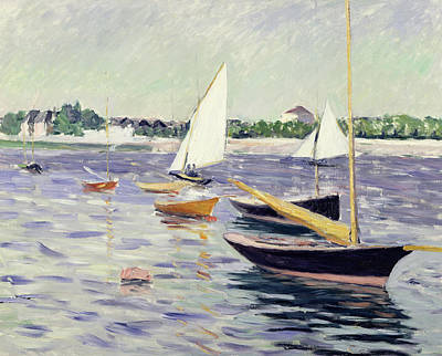 Sailing Boats At Argenteuil Print by Gustave Caillebotte