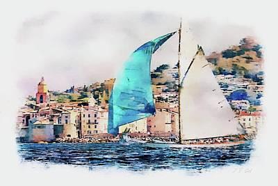 Photograph - Sailing Boats At Sea, Saint-tropez by Jean Francois Gil