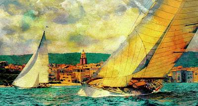 Photograph - Sailing Boats At Sea St. Tropez Painting by Jean Francois Gil