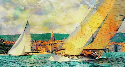 Photograph - Sailing Boats At Sea St. Tropez, Texture My World by Jean Francois Gil