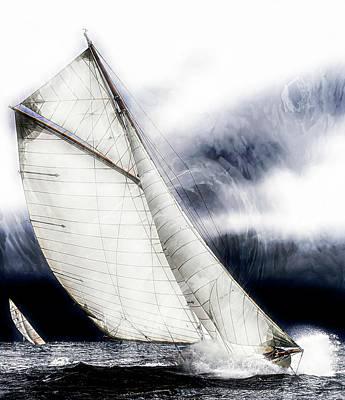 Photograph - Sailing Boats At Sea, Van Gogh Brush Style by Jean Francois Gil