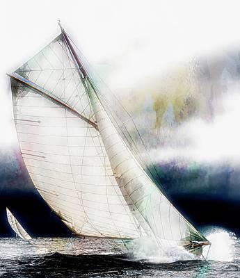 Photograph - Sailing Boats At Sea,texture My...  by Jean Francois Gil