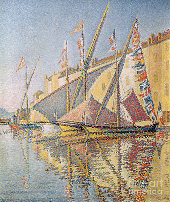 St.tropez Painting - Sailing Boats In St Tropez Harbour, 1893  by Paul Signac