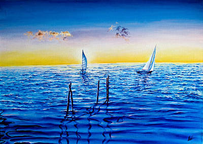 Painting - Sailing Boats by Michel Angelo Rossi