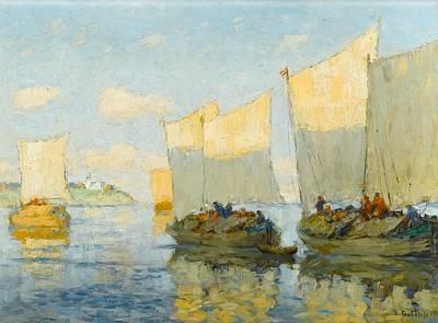 Sailing Boats On The Volga Art Print