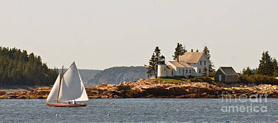 Photograph - sailing by Mark Island lighthouse by Christopher Mace
