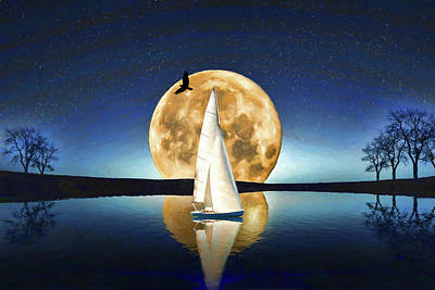 Photograph - Sailing By Moonlight by John Haldane