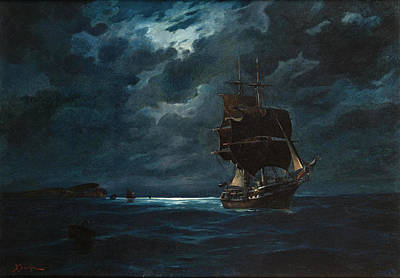 Painting - Sailing By Moonlight by Vasilios Chatzis