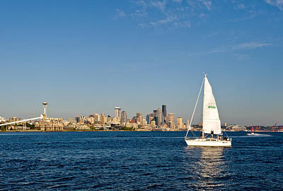Sailing By Seattle Art Print by Tom Dowd