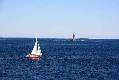 Photograph - Sailing By The Ram Island Ledge Lighthouse by George Jones