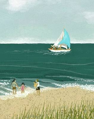 Painting - Sailing By The Shore by Katherine Young-Beck
