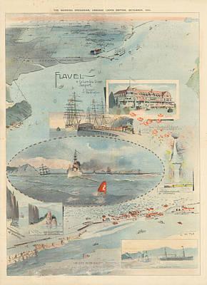 Drawing - Sailing Chart - The Morning Oregonian - Cascade Locks Edition, 1896 - Columbia River Port by Studio Grafiikka