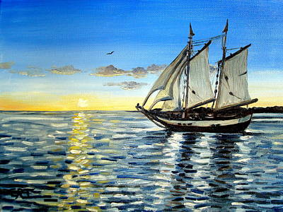 Painting - Sailing Day Sunset by Elizabeth Robinette Tyndall