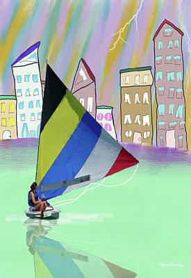 Mixed Media - Sailing Fantasy by Rosalie Scanlon