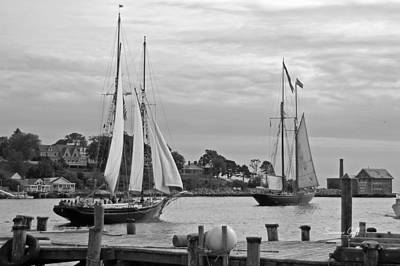 Sailing From Gloucester In Black And White Art Print by Suzanne Gaff