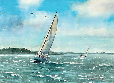 Sailing Harbor Islands Original by Laura Lee Zanghetti